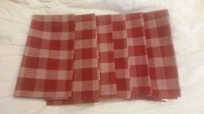 Pottery BarnYarn Dyed red Plaid checker farmhouse Napkins set of 6 NEW - Red Checkered Napkins