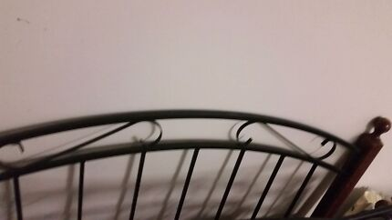 Queen size wrought iron and timber bed Nowra Nowra-Bomaderry Preview