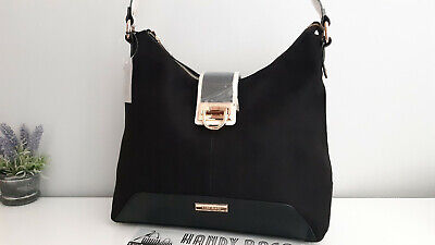RIVER ISLAND Black Lock Front Large Slouch Bag BNWT