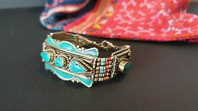 Old Tibetan Bracelet in Local Silver, Turquoise & Red Coral Stones …beautiful ac