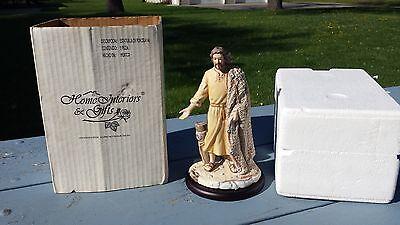 Fisherman Masterpiece Porcelain Homco Home Interior Jesus Figurine Box & Stand
