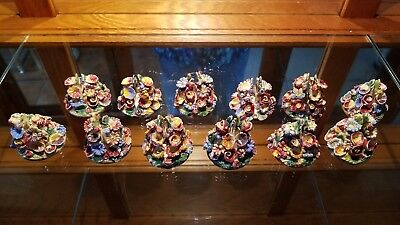 - Set of 12 Porcelain Place Card Holders Made in Italy Floral Handmade