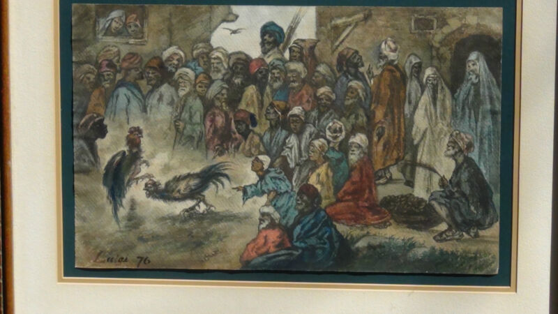 "Luigi Feerazi (italy) 1876 Original Watercolor Orientalist Painting""cock Fightin"