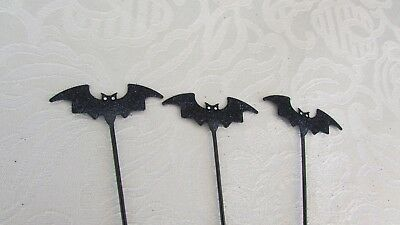Halloween Three Black BATS Minature Pick for Cakes, Wreaths Tabletop Accent 7