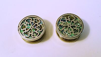 PAIR Flower plugs cutout abalone background screw fit surgical steel gauges](Flower Cutout)