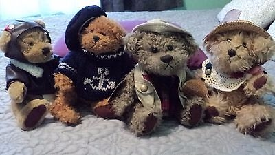 LOT OF 4 PICKFORD BEARS BRASS BUTTON COLLECTION 1997 ~ RADAR~ROSIE~TANNER~TANGO