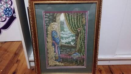 Professionally Framed Fantasy Cross-Stitched Pictures