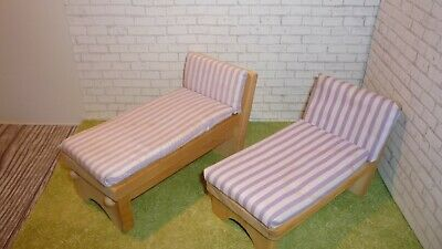 "KIDKRAFT Wood Doll House Furniture Chaise Lounge Chair BARBIE 4"" & 6""x3.5""3.5"""