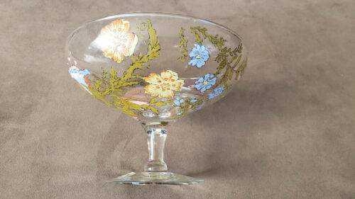 Very Rare Vintage Dorothy Thorpe Wild Flowers Floral Glass Centerpiece Bowl.