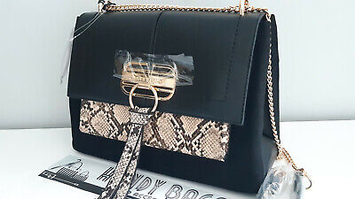 RIVER ISLAND Black Snake Print Lock Front Chain Strap Crossbody Bag BNWT