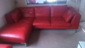 red leather 3 seat sofa with chaise and 2 seat sofa Windang Wollongong Area Preview