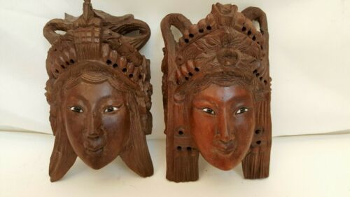 """2 VINTAGE WOMAN GODDESS CHINESE CARVED WOOD MASKS WALL HANGINGS 6.5"""" TALL"""