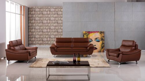 3 Pc Dark Tan Brown Genuine Leather Sofa Loveseat Chair Living Room Set