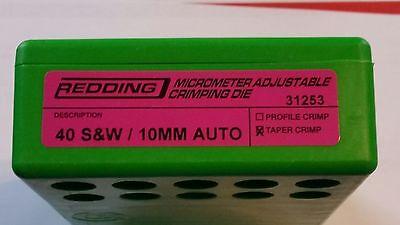 31253 REDDING MICRO-ADJUSTABLE TAPER CRIMP DIE - 40 S&W /10M