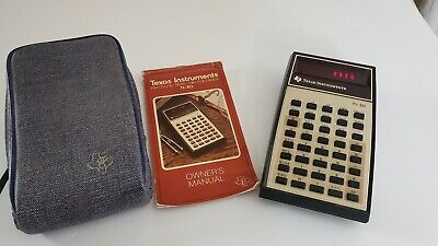 Vintage Texas Instruments Ti-30 Calculator Red Led Display Case Manual