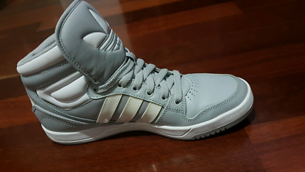 Adidas Court Attitude High Top Shoes, Grey & White $60-US 8 1/2