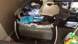 Playpen with bassinet and change table