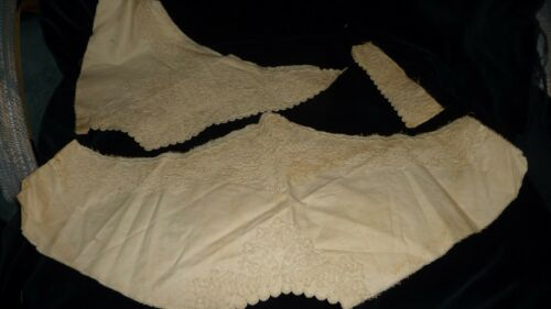 #1214 Antique Victorian Edwardian REMNANTS  HAND EMBROIDERED  Parts of Collar