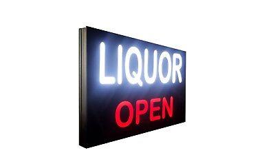 Liquor Open Sign Led Light Box Sign 16x24x1.75 Inch