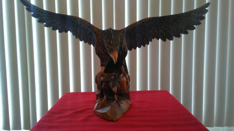 "Vintage Carved Eagle Sculpture w/ Detachable Wings (31"" Wing Span) w/ Baby Eagle"