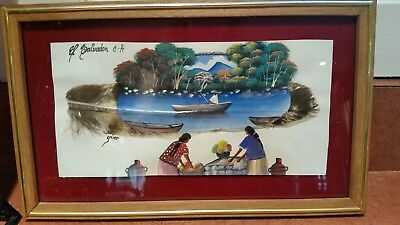 Handmade in EL Salvador C.A Artist Signed Framed Painting on Feather  Stunning!