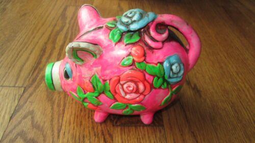 Vintage Holiday Fair Chalkware Flower Pink Pig Bank