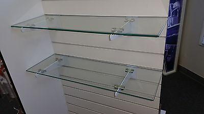 8 X 24 Rectangular 14 Clear Tempered Glass Shelf Wslat Wall Brackets 2pack