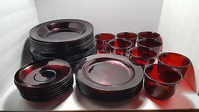Vintage Arcoroc France Ruby Red 40 Piece Dish Set