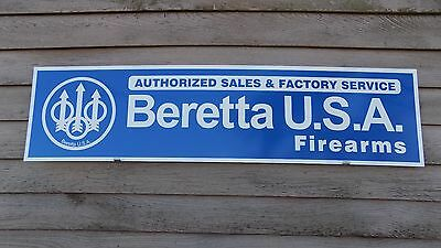 CURRENT STYLE BERETTA FIREARMS DEALER SIGN/AD 1'X46'' ALUM. PANEL W/ LOGO