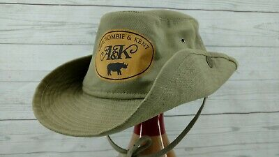 A&K ABERCROMBIE & KENT Bush Hat Size 7 1/4 Snaps Up Tie Denim Sage Green