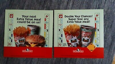 2 Different McDonalds1998 MONOPOLY Extra Value Meal Adv Translites/signs 13 -