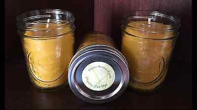 Three Wick Glass - Three All Natural Organic Beeswax Candle Organic Wick 8 oz BPA Free Glass Jars