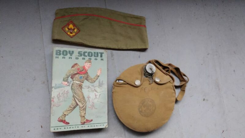 Vintage boy scout lot 1964 handbook canteen hat red trim and patch