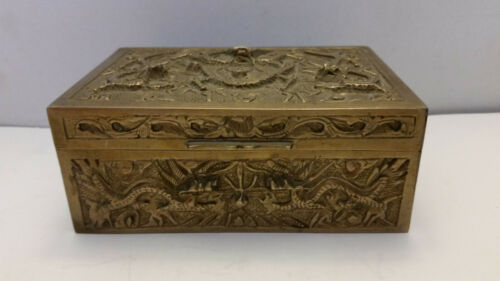 "Chinese Antique High Relief Brass Dragon Wood Lined Trinket Box Marked ""China"""