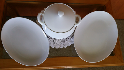 Vintage serving platters and casserole dish