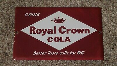 Vintage Drink ROYAL CROWN COLA Porcelain Door Push Pull RARE Advertising Sign