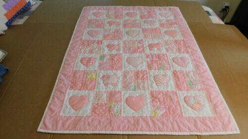 Handmade Animal/Heart Baby Girl Quilt