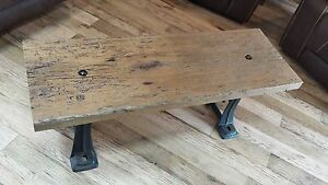 Reclaimed barn wood coffee table cast iron legs unique for Coffee table with cast iron legs