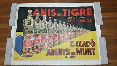 ANIS DEL TIGRE - ORIGINAL SPANISH ALCOHOL ADVERTISING POSTER -