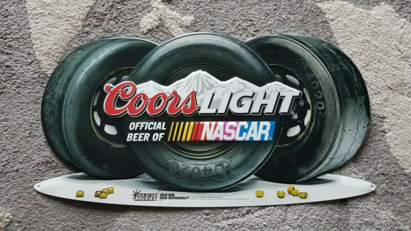 "Coors Light Official Beer of NASCAR Metal Sign Race Car Tires 24""X13"" HTF"