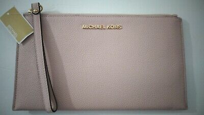 NWT MICHAEL KORS LARGE ZIP CLUTCH WRISTLET LEATHER PINK BLOSSOM $ 98.00
