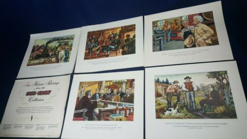 Vintage Old Crow Bourbon Whiskey Historic Paintings Complete Set 15.5x13 RARE VG