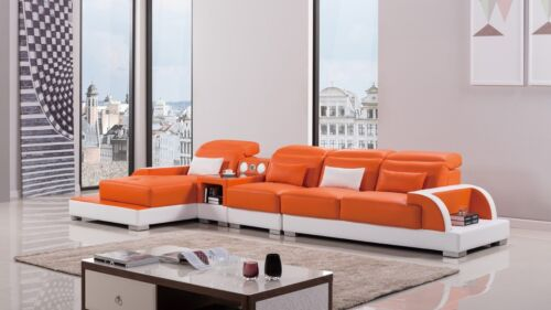 Modern Orange Ivory Leather Sectional Sofa Chaise Chair Set Bluetooth Speaker