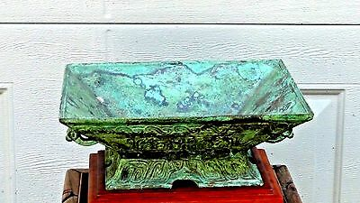OLD CHINESE BRONZE RITUAL RECTANGULAR VESSEL WITH RELIEF TAOTIE MASKS