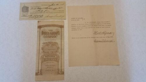 Cincinnati Gibson Hotel Group of Historic Paperwork: Stock, Check & Signatures