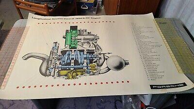 Vtg Porsche 356 Factory Service Poster 1600s-90 Engine Cutaway Longitudinal View