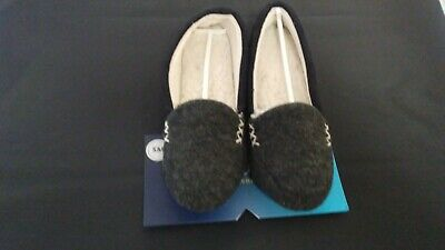 Isotoner Women's Microsuede Marisol Moccasin Slippers Black NEW Small