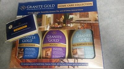 2X Granite Gold Home Care Collection  Natural Stone 2 Cleaners   Polish   Sponge