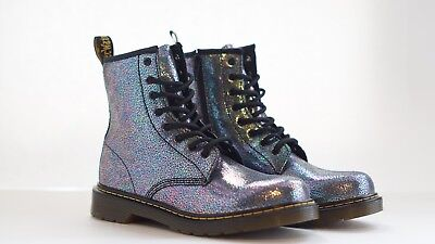 New Womens Doc Dr  Martens Delaney Metallic Glitter Boots Blue Pink