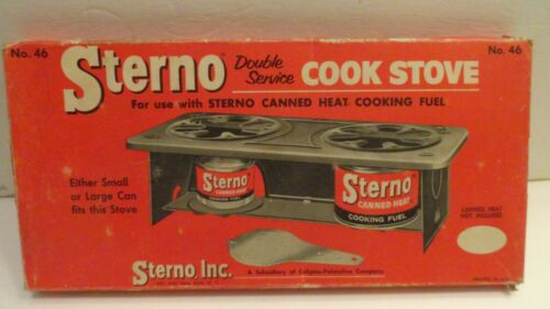 VTG STERNO Model 46 Double Service COOK STOVE w/Box Extinguisher Can Opener USED